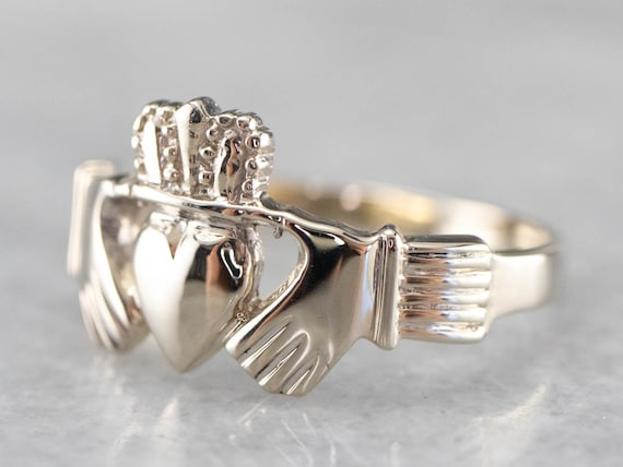 White Gold Claddagh Ring, Vintage Claddagh Ring, I