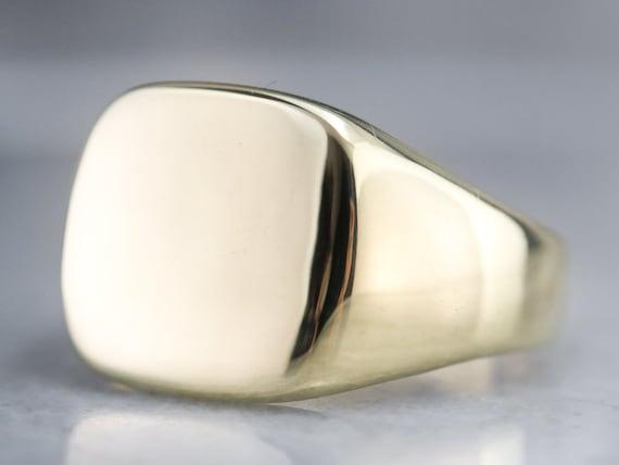 Bold Gold Signet Ring, Plain Gold Signet Ring, Yel