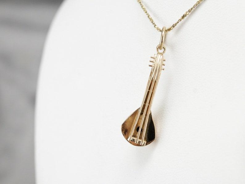 Mandolin Charm Music Charm Vintage Sitar Charm Charm Necklace 9RX2NKHR-D Unisex Pendant