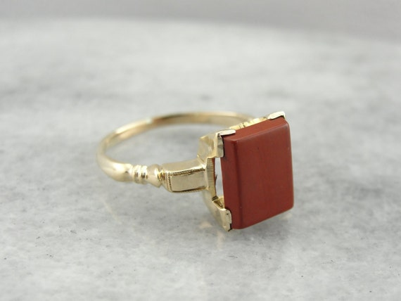 Brick Red Jasper Ring in Retro Era Mounting  D42T9