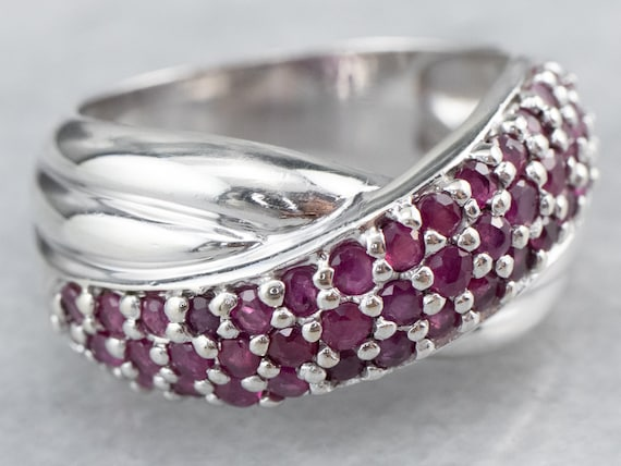 Sterling Silver Ruby Twist Band, Ruby Statement R… - image 3