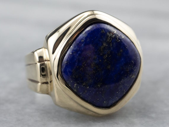 Retro Lapis Gold Men's Ring, Vintage Mens Ring, La