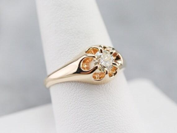 Unisex Diamond Belcher Ring, Antique Diamond Soli… - image 7