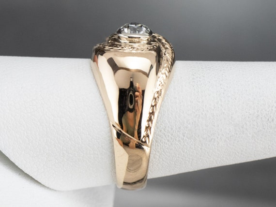 Unisex Old Mine Cut Diamond Ring, Vintage Diamond… - image 9