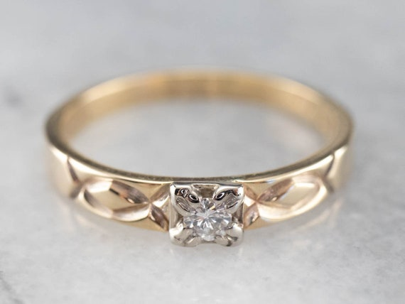 Vintage Diamond Solitaire Ring, Two Tone Gold Dia… - image 2