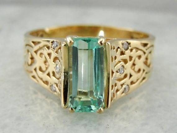 Pretty Mint Green Emerald Filigree Ring, Emerald a