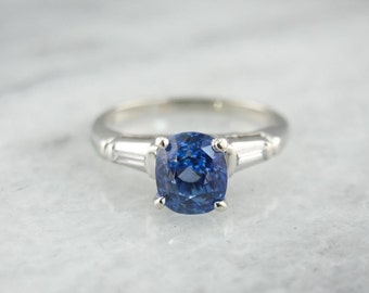 Glittering Ceylon Sapphire And White Gold Engagement Ring 4ZXT3W-N