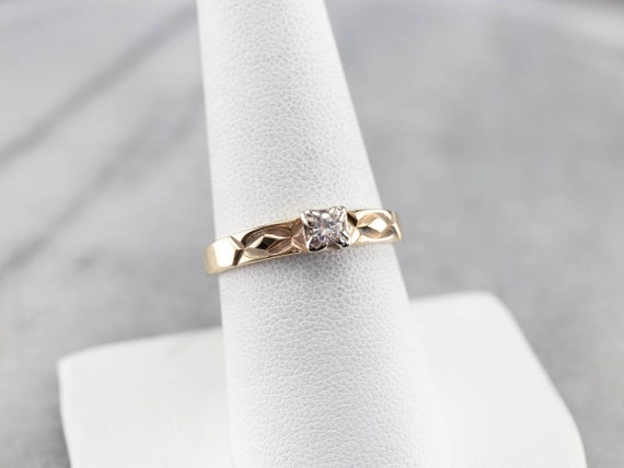 Vintage Diamond Solitaire Ring, Two Tone Gold Dia… - image 6