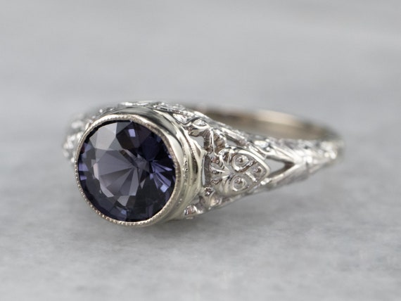 Spinel White Gold Filigree Ring, Solitaire Ring, … - image 3