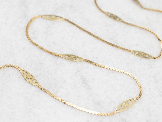 Vintage Filigree Link Gold Chain, Spacer Link Flat