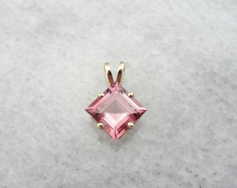 Geometric Sweetheart Pink Tourmaline Pendant HUDZM5-R