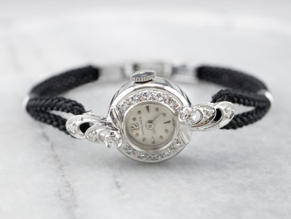 Vintage Diamond Longines Watch, Retro Wrist Watch,