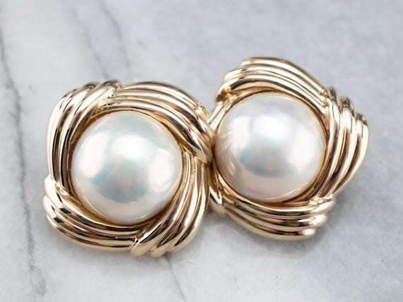 Oversized Mabe Pearl Earrings, Yellow Gold Pearl E