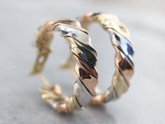 Tricolor Gold Twist Hoop Earrings, Mixed Metal Ho… - image 6