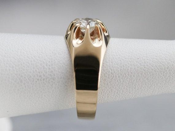 Belcher Set Diamond Ring, Unisex Diamond Solitair… - image 9