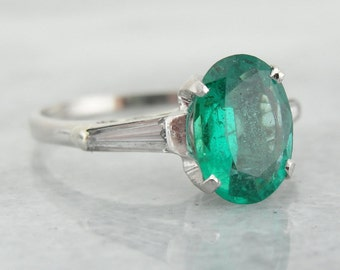 Marvelous Emerald Ring for Engagement or Cocktail Wear, Platinum, Retro Style 9CUV9M-D