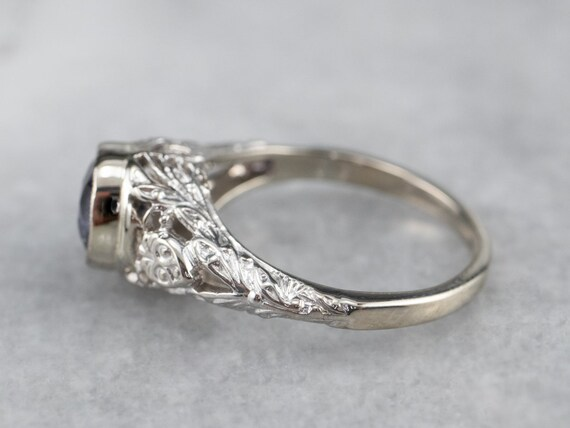 Spinel White Gold Filigree Ring, Solitaire Ring, … - image 4