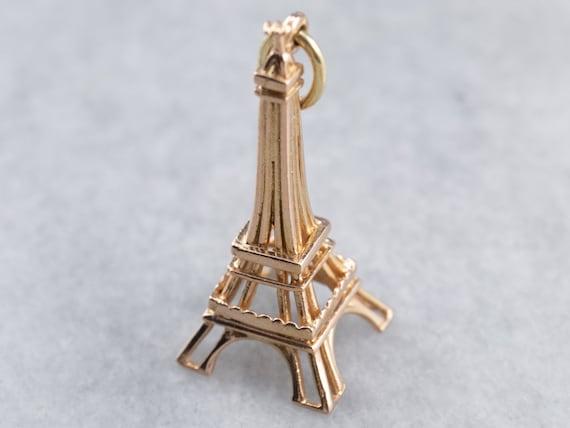 14k Gold Eiffel Tower Charm; Vintage Charm; Travel Charm; French France Charm; Pendant Necklace; Charm Necklace; Charm Bracelet; Retro Charm