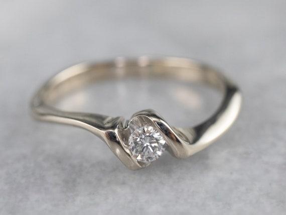 Diamond White Gold Solitaire Ring, Diamond Engage… - image 1