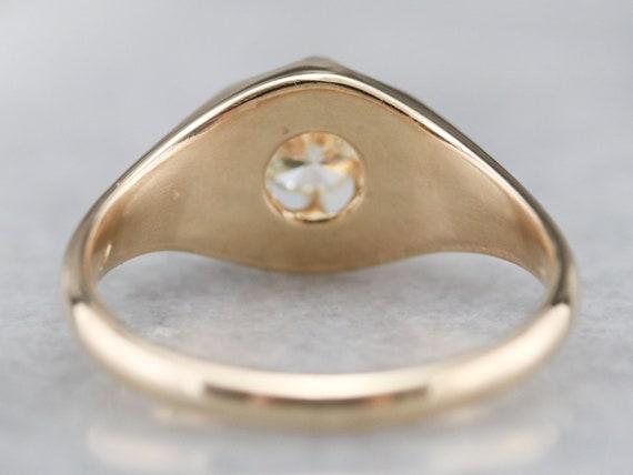 Unisex Diamond Belcher Ring, Antique Diamond Soli… - image 5