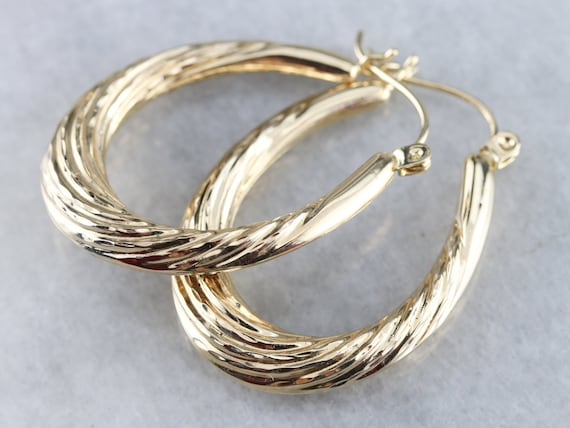 Twisted Gold Hoop Earrings, Vintage Hoop Earrings,