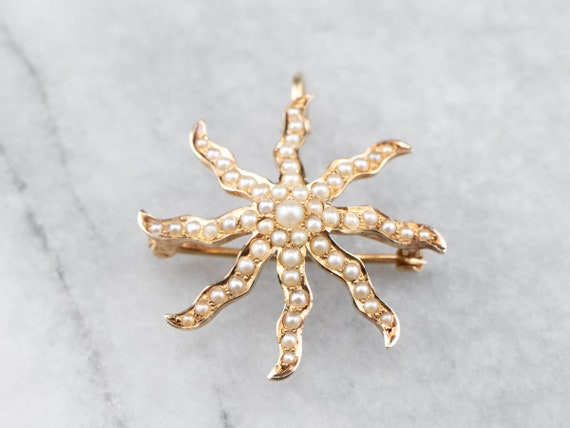 Antique Seed Pearl Star Brooch Pendant, Pearl Gold