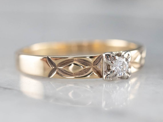 Vintage Diamond Solitaire Ring, Two Tone Gold Dia… - image 3