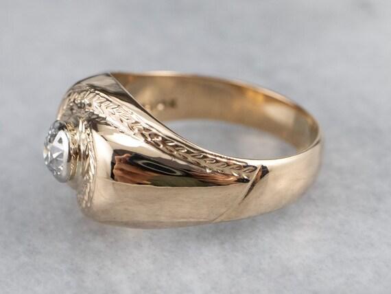 Unisex Old Mine Cut Diamond Ring, Vintage Diamond… - image 4