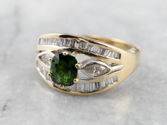 Tsavorite Garnet and Diamond Ring, Garnet Annivers