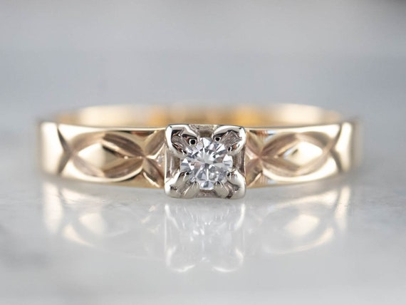 Vintage Diamond Solitaire Ring, Two Tone Gold Dia… - image 1