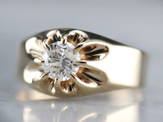 Belcher Set Diamond Ring, Unisex Diamond Solitair… - image 3