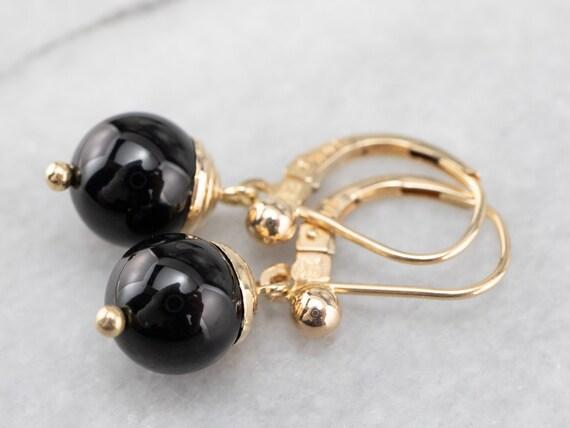 Vintage Black Onyx Drop Earrings, Onyx and Yellow