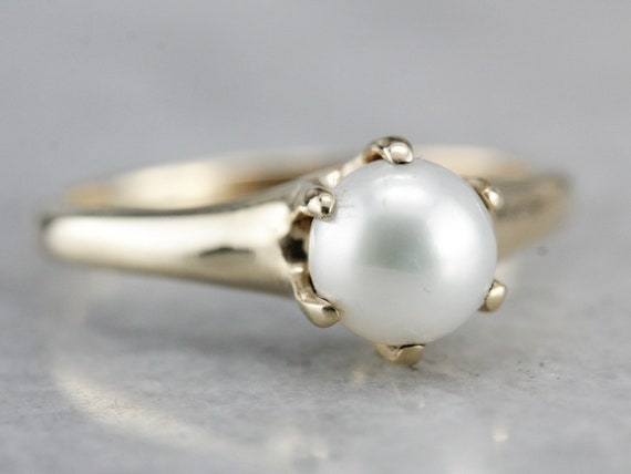 d0a718faa3aa7 Saltwater Pearl Ring, Solitaire Pearl Ring, Pearl and Yellow Gold,  Anniversary Ring PTRWZTAT