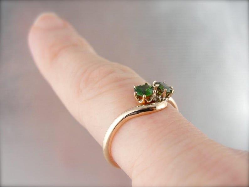 Bypass Style Ring in Rose Gold UEWL2C-R Demantoid Garnet Toi et Moi Ring
