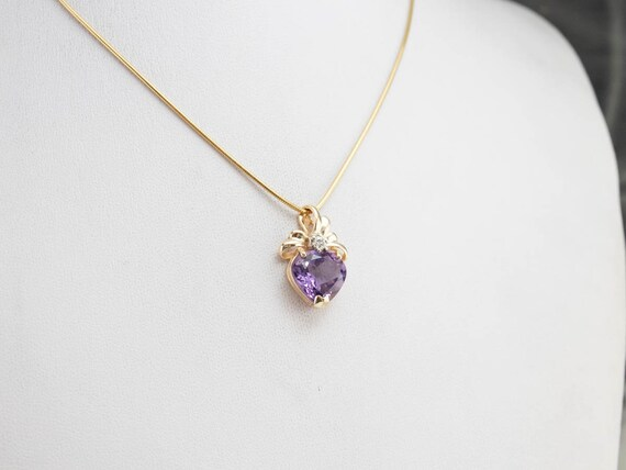 Amethyst Heart and Diamond Pendant, Amethyst Ribb… - image 7