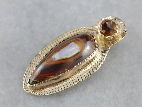 Primitive Boulder Opal and Citrine Pendant MXUYKEA