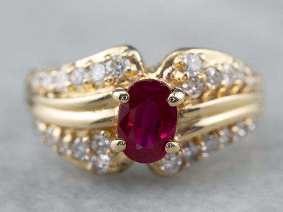 Ruby Diamond Gold Ring, Ruby Engagement Ring, Anni