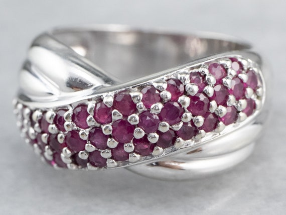 Sterling Silver Ruby Twist Band, Ruby Statement R… - image 2