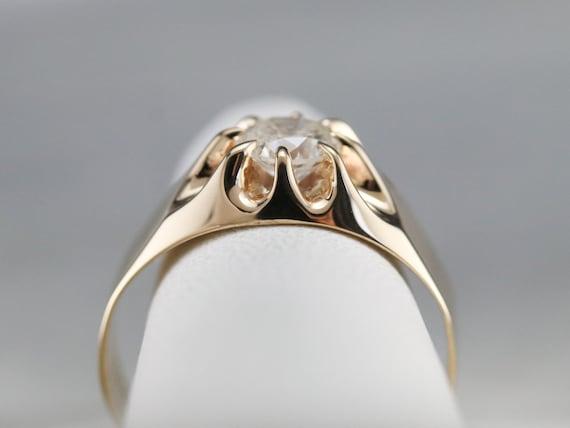 Belcher Set Diamond Ring, Unisex Diamond Solitair… - image 8