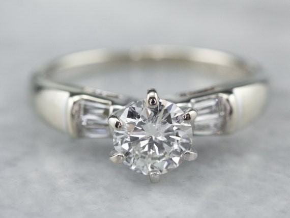 Diamond White Gold Engagement Ring, Diamonds On Sh
