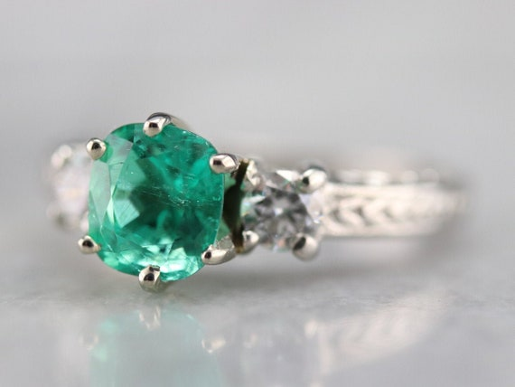 Emerald and Diamond Ring, Emerald Engagement Ring,