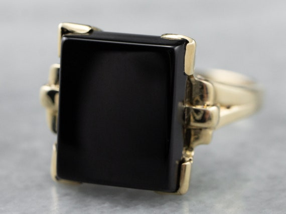 Retro Black Onyx Gold Ring, Vintage Onyx Ring, Rig