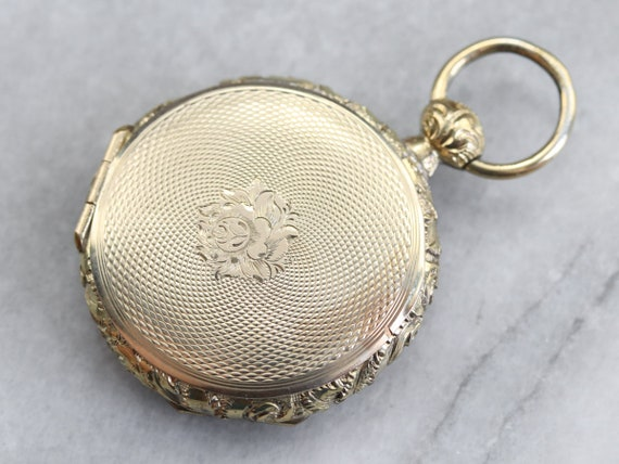 Vintage Gold Pocket Watch Locket, Yellow Gold Lock