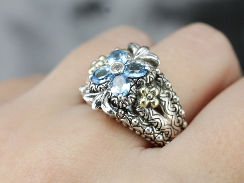 2 Payments Layaway RX0VV8HY RESERVEDSOLD Barbara Bixby Diamond and Blue Topaz Ring Sterling Silver and Yellow Gold Ring