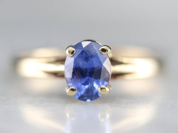 Sapphire Solitaire Ring, Sapphire Yellow Gold Ring