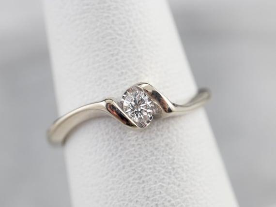 Diamond White Gold Solitaire Ring, Diamond Engage… - image 7