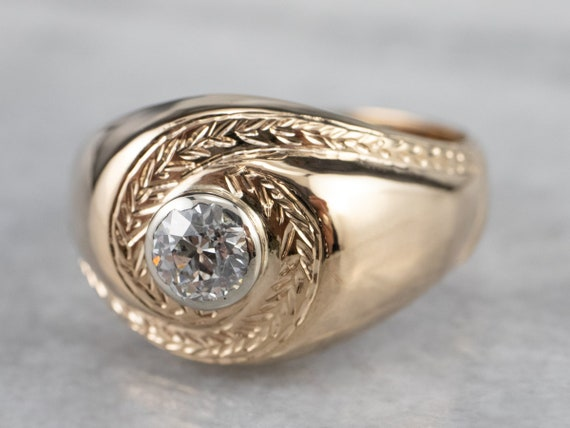 Unisex Old Mine Cut Diamond Ring, Vintage Diamond… - image 3