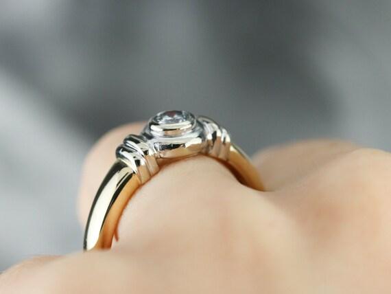 Unisex Diamond Solitaire Ring, Bezel Set Diamond … - image 7