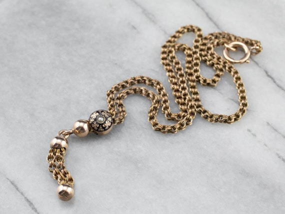 Exquisite Antique Lariat Chain, Victorian Slide Ch