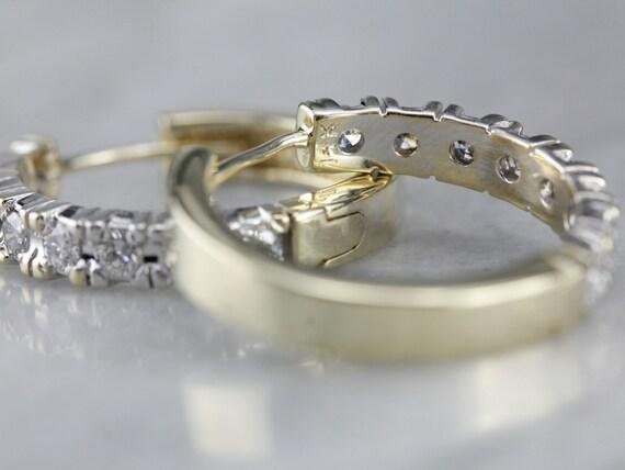 Diamond Hoop Earrings, Yellow and White Gold Hoop… - image 4